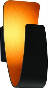 Wall lamp Black gondola with golden LED center small 0