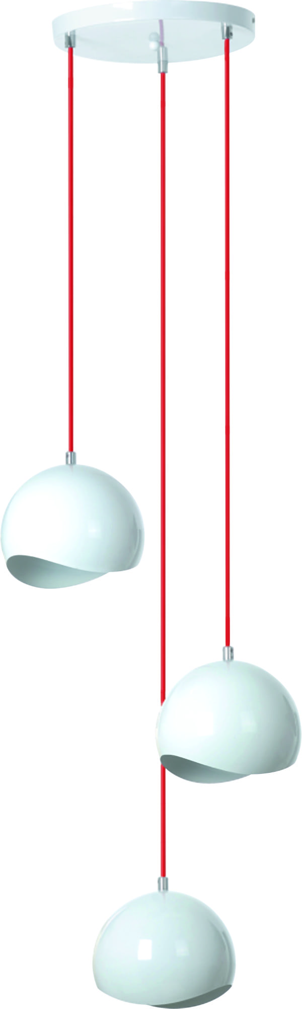 White Triple Hanging Lamp Alena red cables