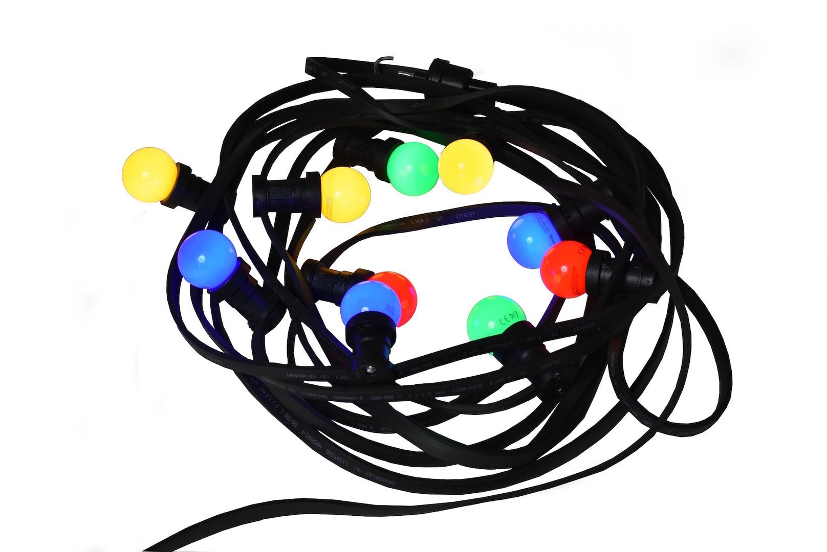 Light String for restaurant terrace - 20m with 20 multicolour LED bulbs