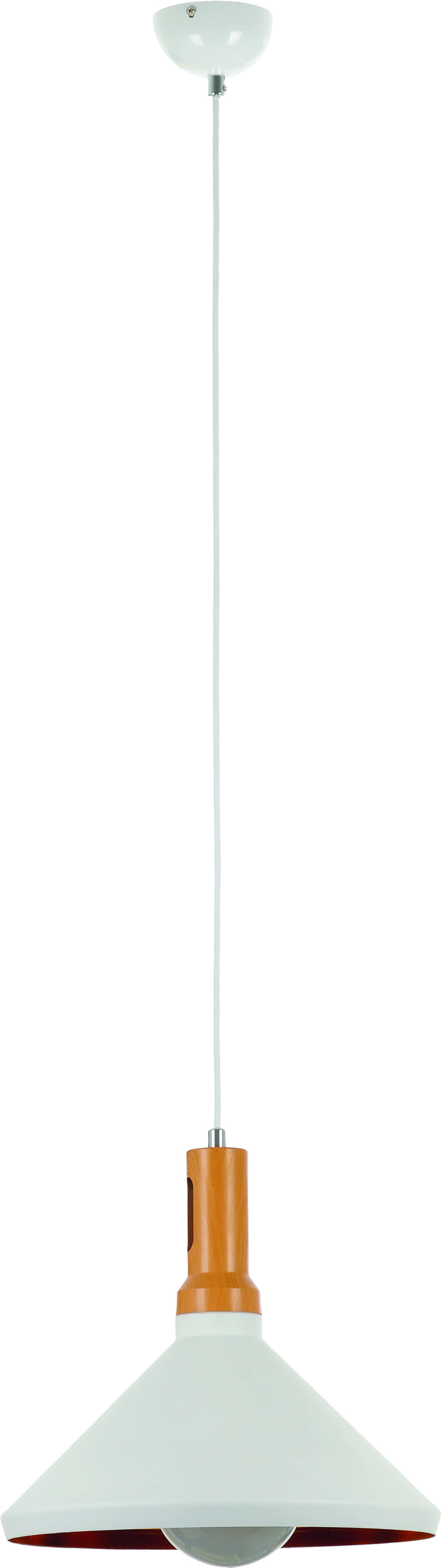 Hanging lamp Selene white lampshade 60W wood