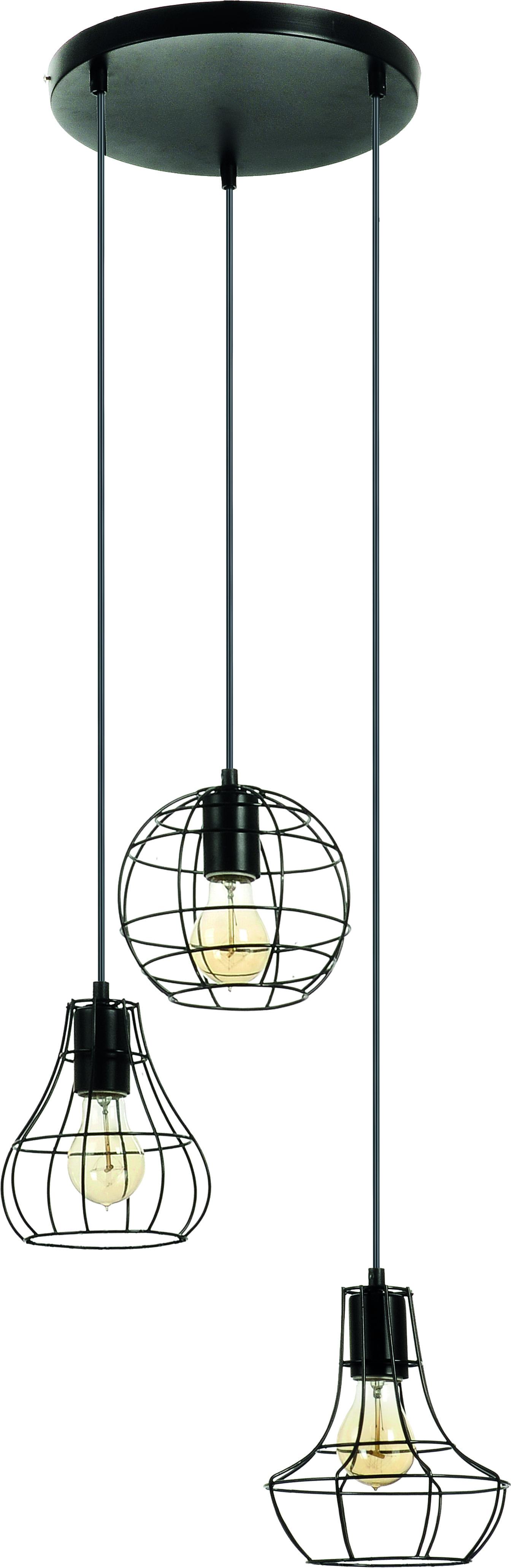 3-point Outline Black Cage pendant lamp