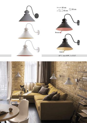 Szaro-brązowa Metalowa Lampa Kinkiet Sam 2