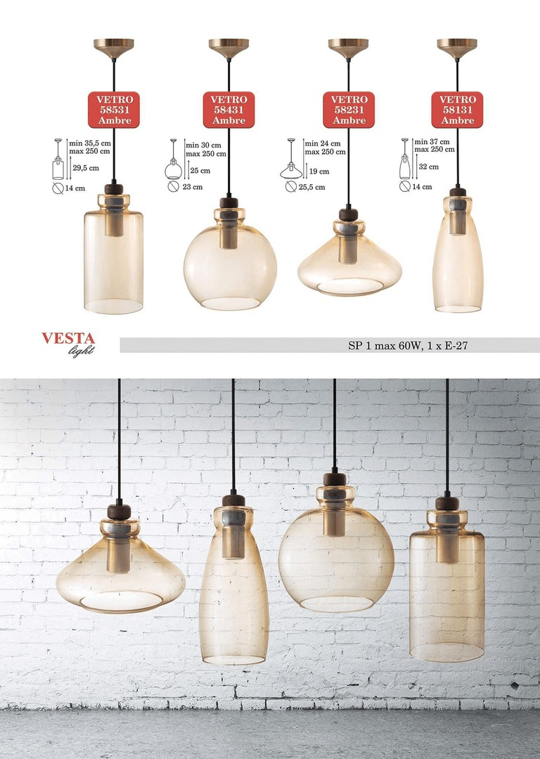 Ambre Glass Justine Pendant Lamp