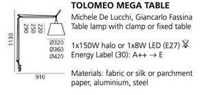 Desk lamp clamp Artemide TOLOMEO (satin bowl ø32cm) small 1