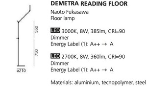 Floor lamp for reading Artemide DEMETRA Anthracyt 2700K small 1