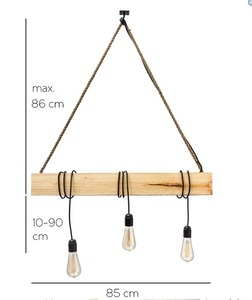 Hanging lamp wooden loft beam Marlo clear pine small 3