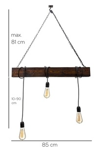 Hanging lamp wooden loft beam Marlo rosewood small 3
