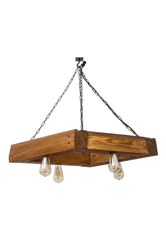 Wooden hanging lamp trapezium Loft Mora satin oak