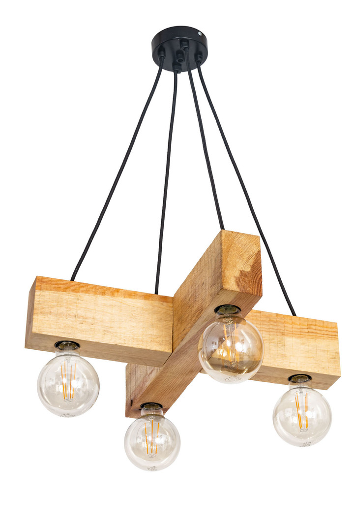 Wooden hanging lamp loft cross Dalvik natural wood