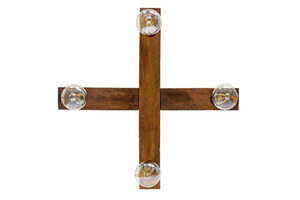 Wooden hanging lamp cross Dalwik satin oak small 1
