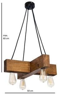 Wooden hanging lamp cross Dalwik satin oak small 4