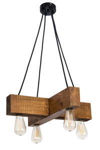 Wooden hanging lamp cross Dalwik satin oak small 0