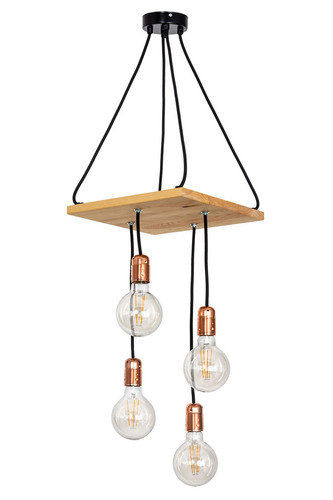 Wooden hanging lamp loft. Chita natural wood