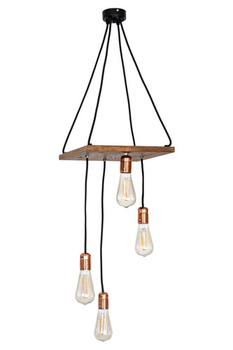 Wooden hanging loft lamp Chita rustic satin oak