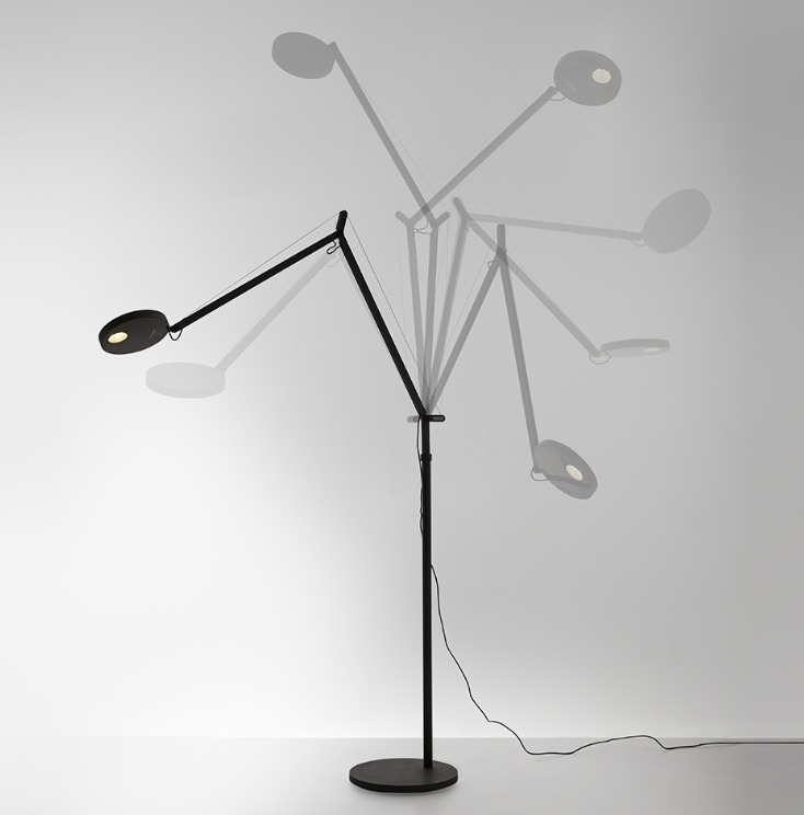 Floor lamp for reading Artemide DEMETRA black gloss 3000K / 2700K