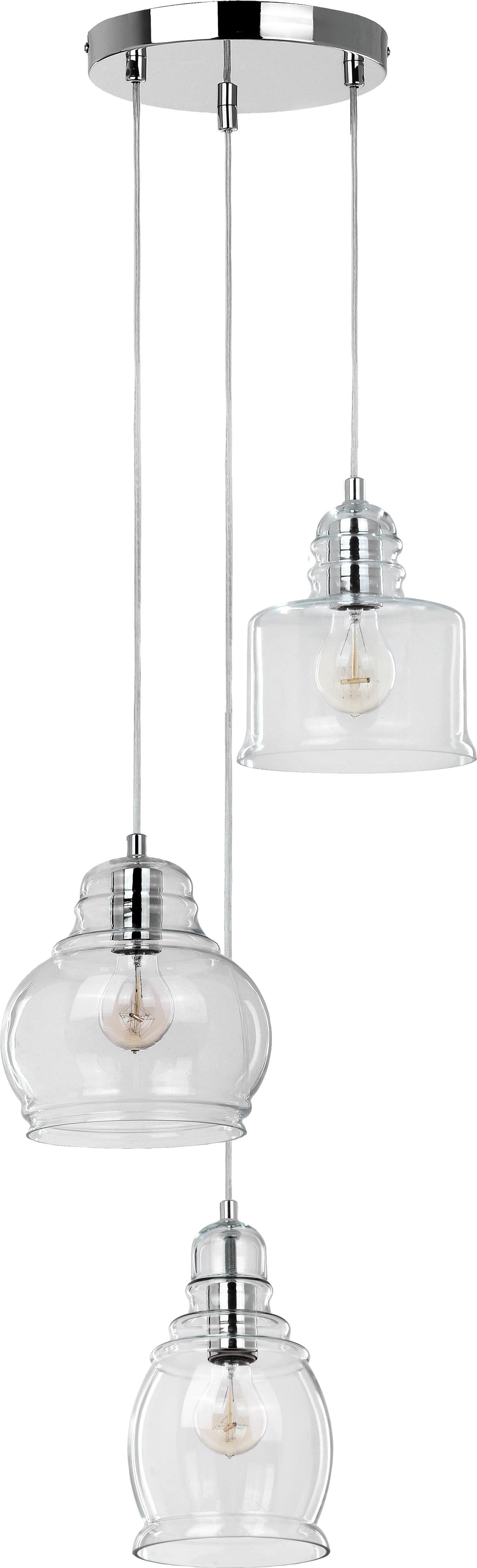 Nova three-point pendant lamp with glass lenses