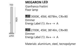 Floor lamp Artemide MEGARON silver 3000K / 2700K small 1