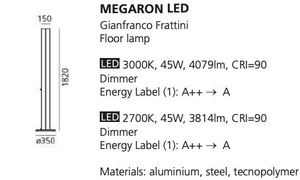 Floor lamp Artemide MEGARON black 3000K / 2700K small 1