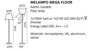 Floor lamp Artemide MELAMPO Mega gray aluminum small 1