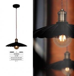 Metal Ceiling Lamp Herbert Czarno-Rdzawa small 1