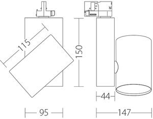 KOR Quattrobot spotlight aluminum 32W 3000K CRI 93 compatible with Stucchi trunks small 1