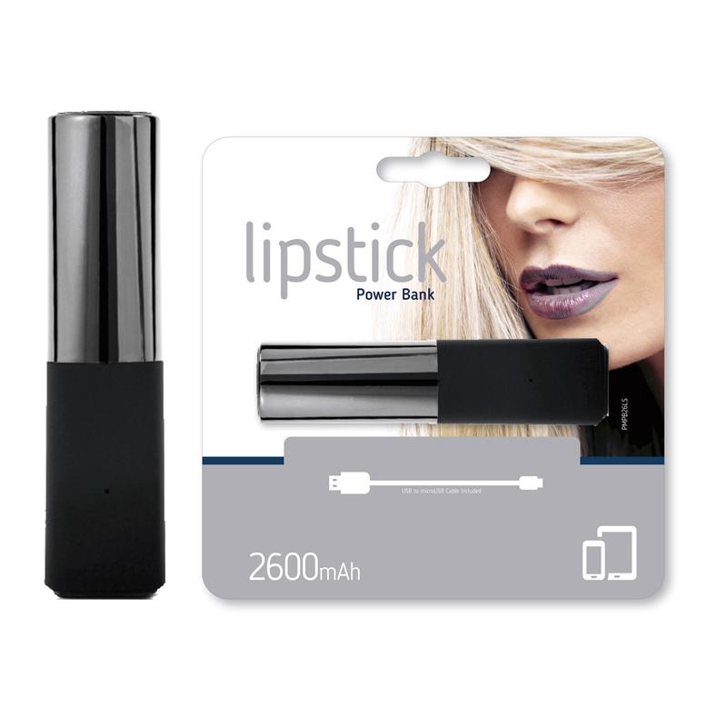 Power Bank Lipstik 2600mAh silver / black