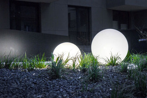 Decorative Ball White Gloss - Luna Ball 40 cm with assembly set, 3m cable, fastening post small 3
