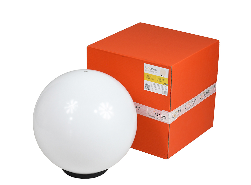 Decorative Ball White Gloss - Luna Ball 40 cm with assembly set, 3m cable, fastening post