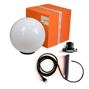 Decorative Ball White Gloss - Luna Ball 50 cm with assembly kit, 3m cable, fastening post small 0