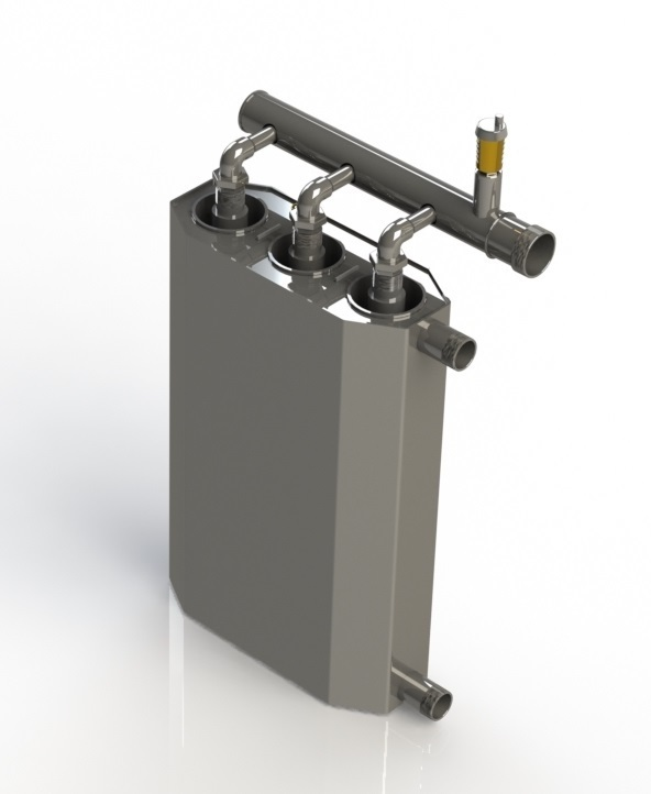 Triple 15 kw induction boiler for heating up to 300m2