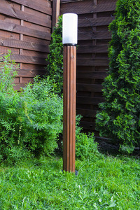 Lighting post Luna Torch 127 cm E27 wooden white lampshade small 1
