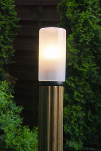 Lighting post Luna Torch 127 cm E27 wooden white lampshade small 2