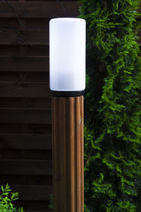 Lighting post Luna Torch 127 cm E27 wooden white lampshade small 3