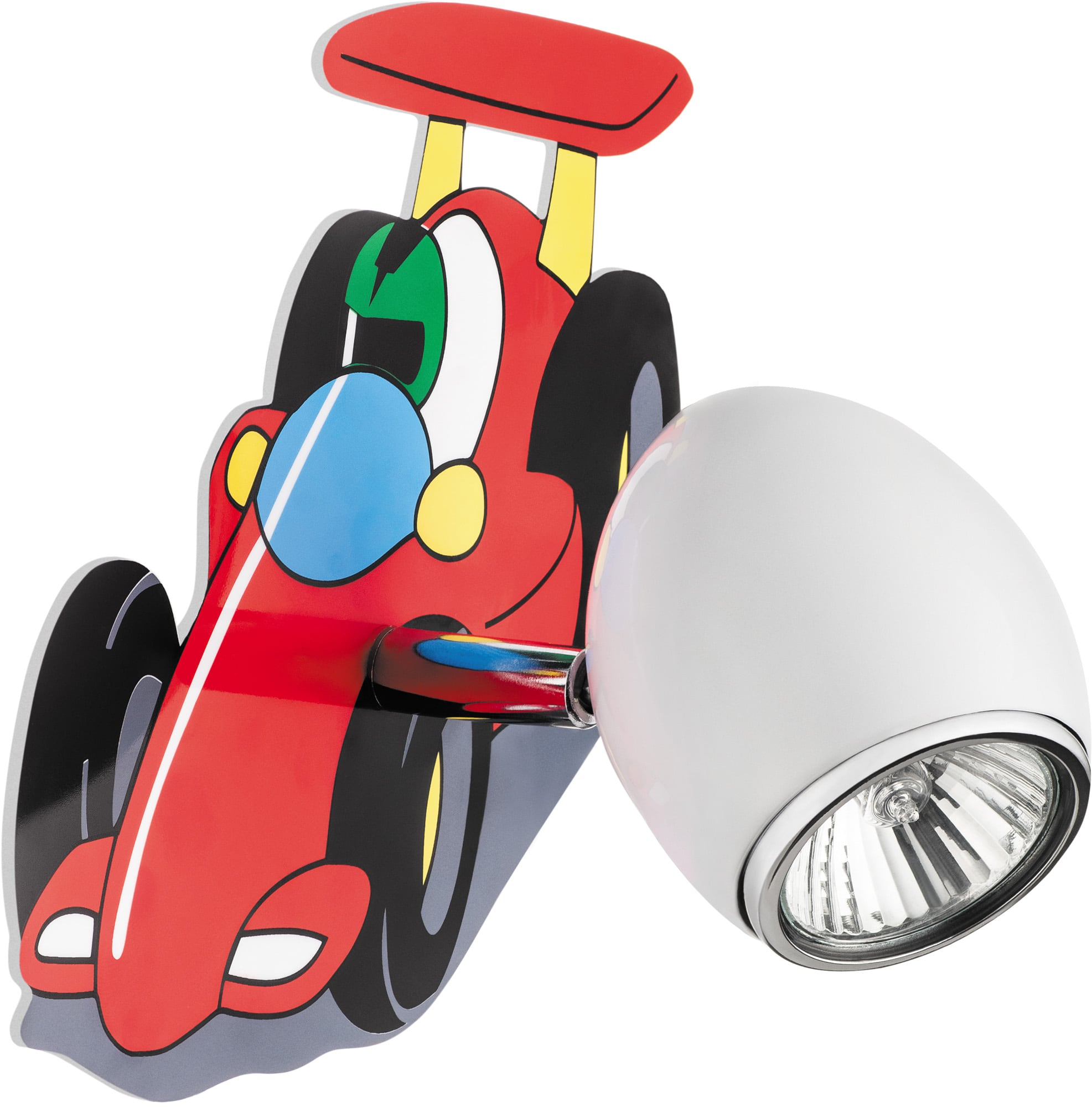Wall lamp for a child Car race car - Car white / chrome 50W GU10