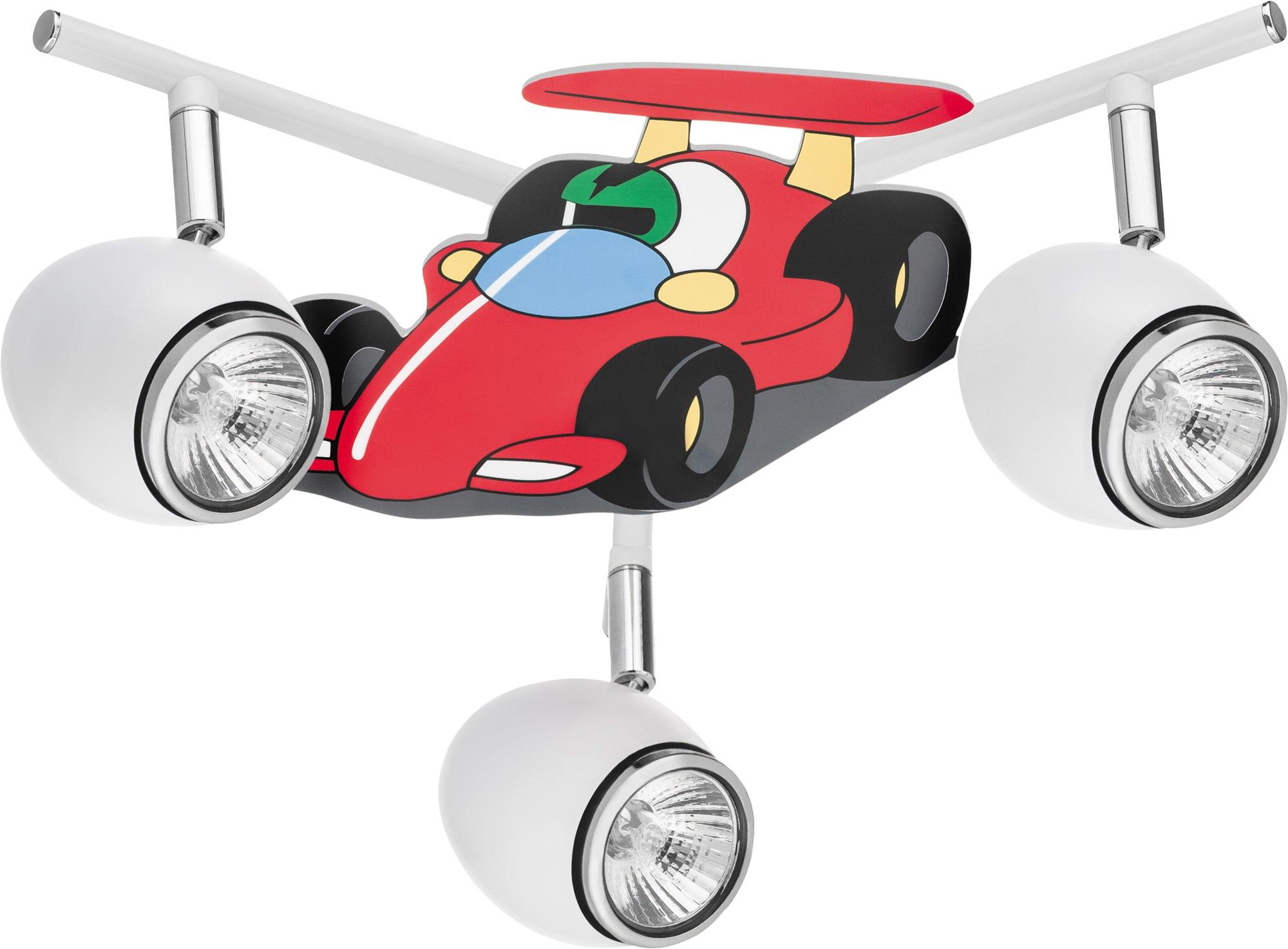 Lamp for a child Car race car - Car white / chrome 3x50W GU10