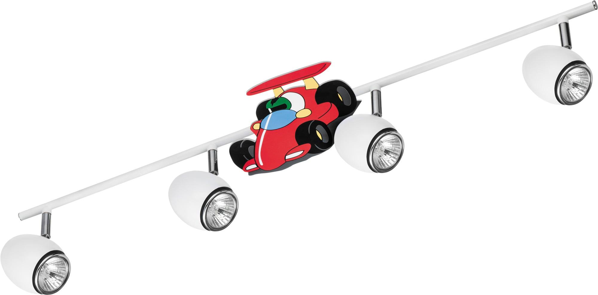Lamp for a child Car race car - Car white / chrome 4x50W GU10