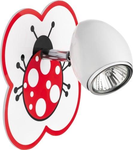 Lampa dla dziecka Biedronka - kinkiet Fly biały/ chrom GU10 50W