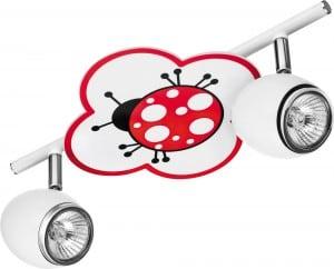 Lampa dla dziecka Biedronka - Fly biały/ chrom 2x50W GU10