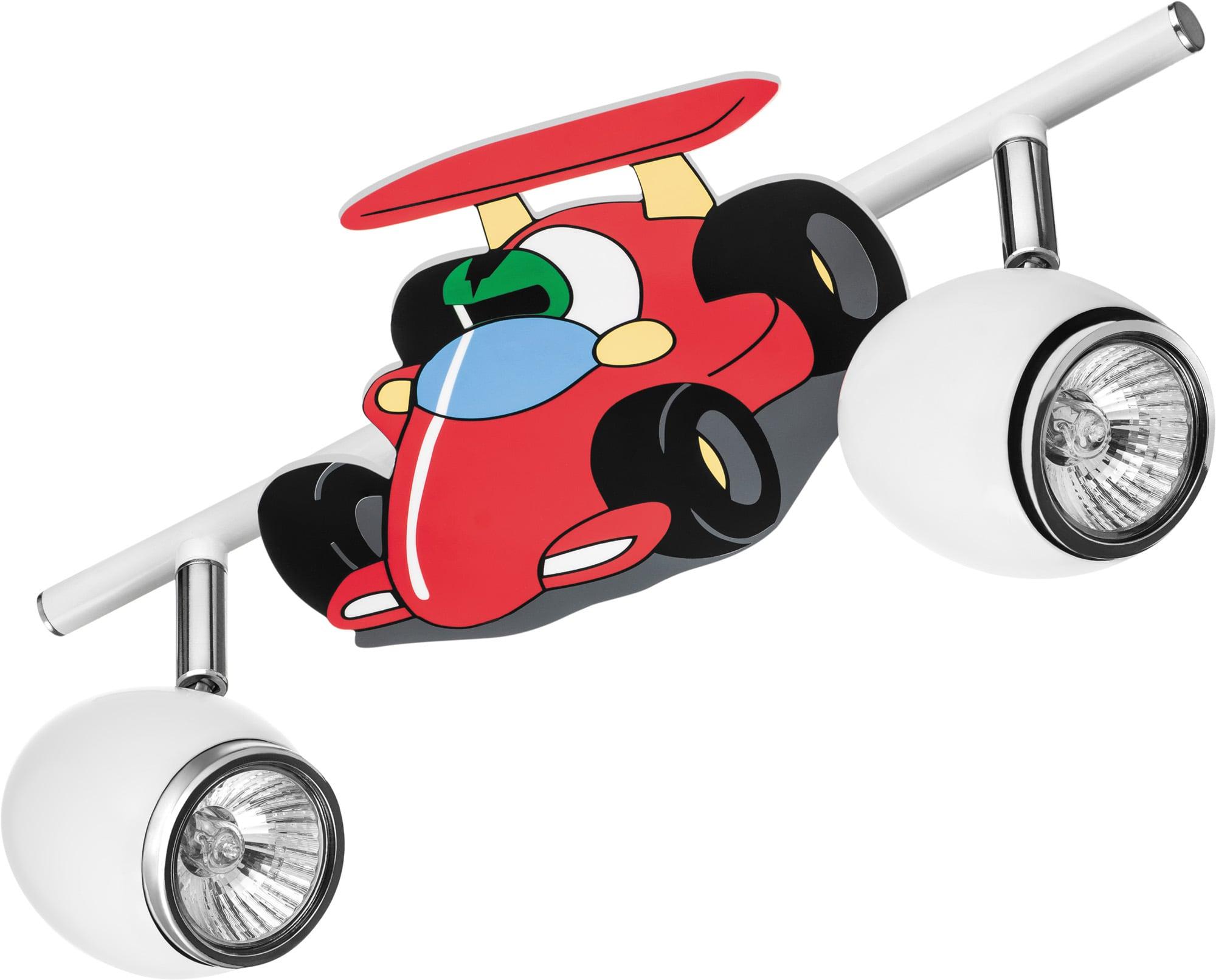 Lamp for a child Car race car - Car white / chrome LED GU10 2x4,5W