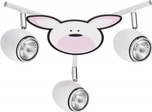 Lamp for child Królik - Rubby biały / chrom LED GU10 3x4,5W