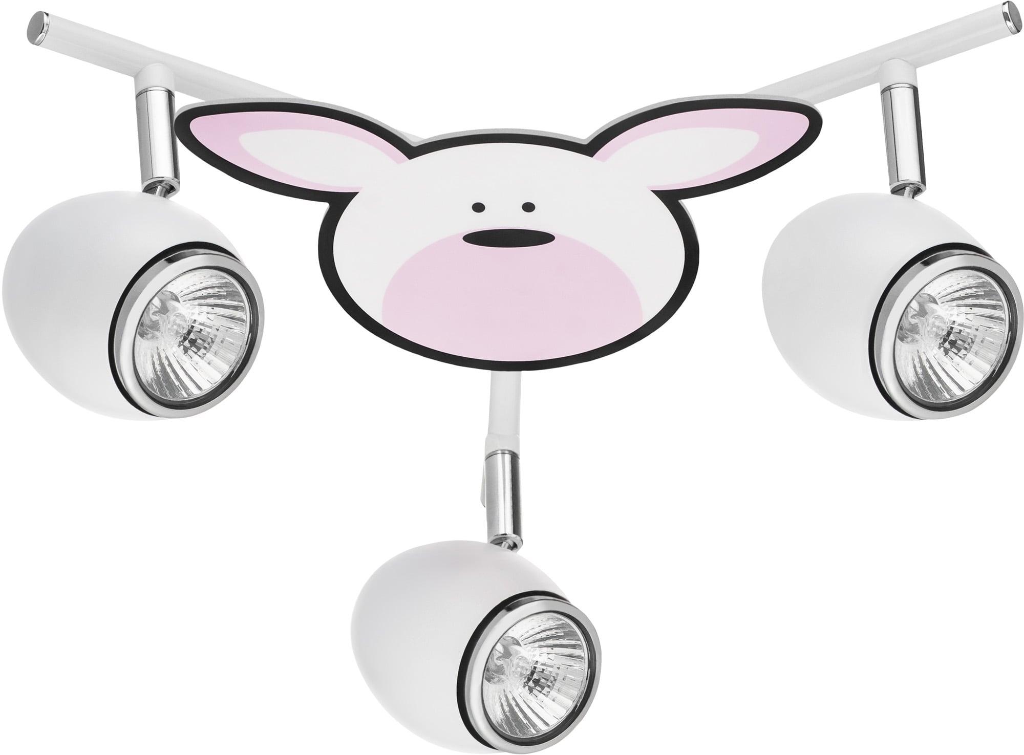 Lamp for child Królik - Rubby biały / chrom LED GU10 3x4,5W