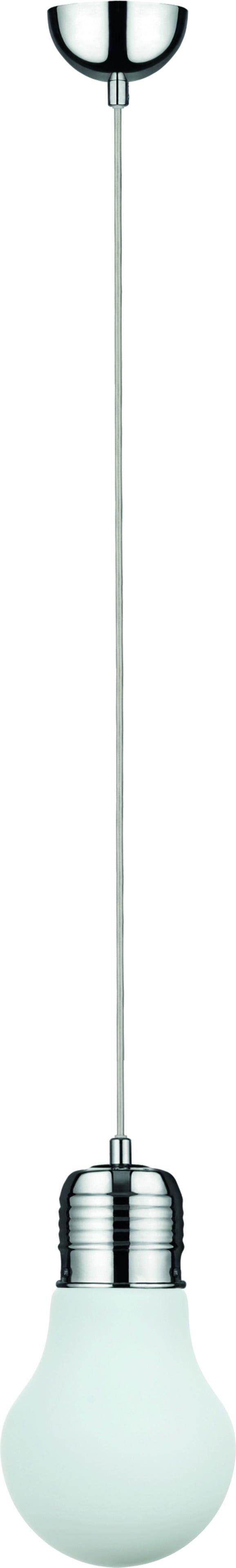 Pendant lamp Bulb chrome / white E27 60W