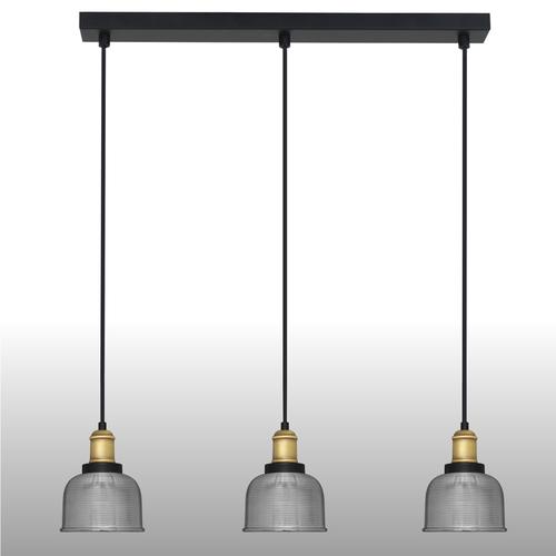 Srebrna lampa wisząca Omida 3 listwa