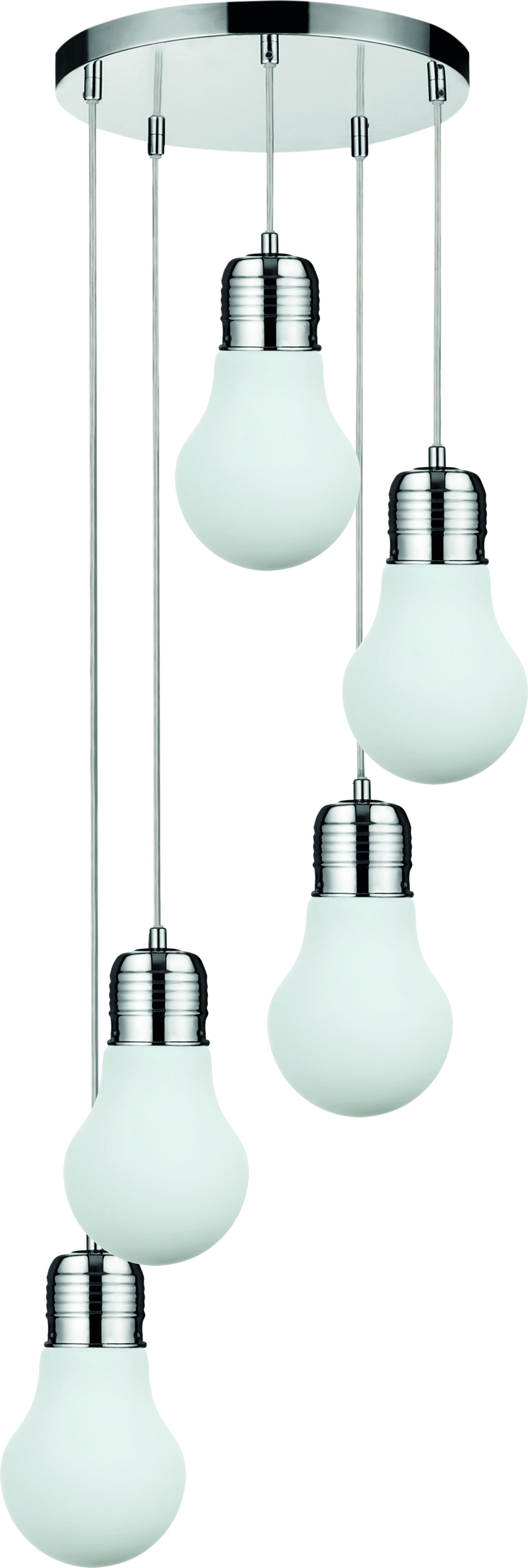 Five-point loft Pendant lamp Bulb chrome / white E27 60W
