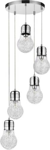 Industrial five-point pendant lamp Bulb chrome E27 60W
