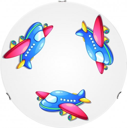 Children's lamp Airplane - plafon Jet white / chrome LED 12W 30cm