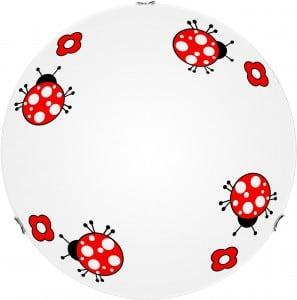 Plafon dla dziecka Biedronka - Fly biały/ czerwony LED 15W 40cm