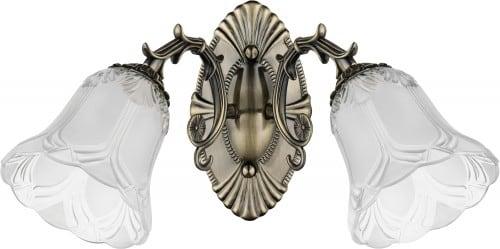 Double wall lamp Clotilde patina / white E27 60W
