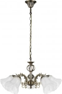 Five-point chandelier Clotilde patina / white E27 60W small 0