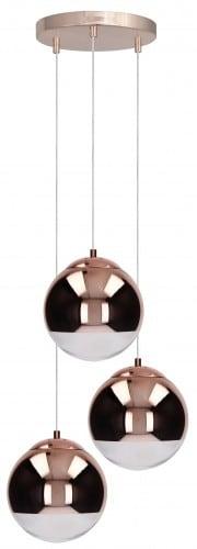 A triple copper pendant lamp Gino copper E27 60W